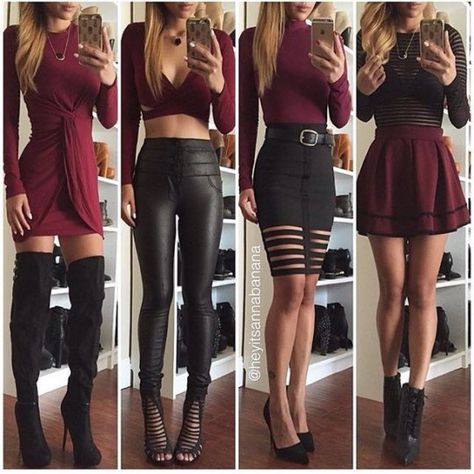 Dress burgundy black black leggings leather leggings burgundy skirt thigh high boots fall outfits cut out
