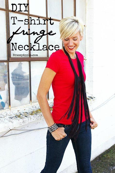 #Refashion a tshirt into a fringe necklace scarf - BrassyApple.com