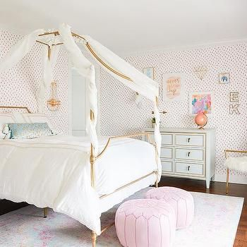 Gold Canopy Bed With Blue French Nightstands Girls Bed Canopy Little Girl Canopy Bed Canopy Bed