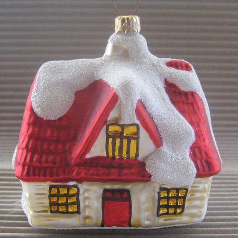 Vintage Christmas Ornament Large Christmas House Hand Blown Glass