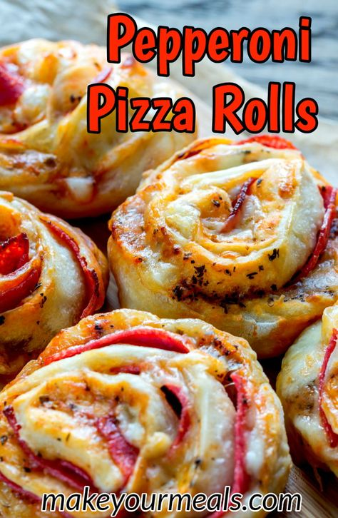 Pepperoni Pizza Rolls Recipe - a great appetizer for game day or a yummy snack any time of the year! A pizza inspired snack or appetizer that is easy to eat and is a fantastic addition to any party! 2 tubes of refrigerated pizza crust Yummy Snacks, Snack Recipes, Yummy Food, Pizza Recipes, Easy Recipes, Pizza Flavors, Party Appetizer Recipes, Game Day Recipes, Appetizer Ideas