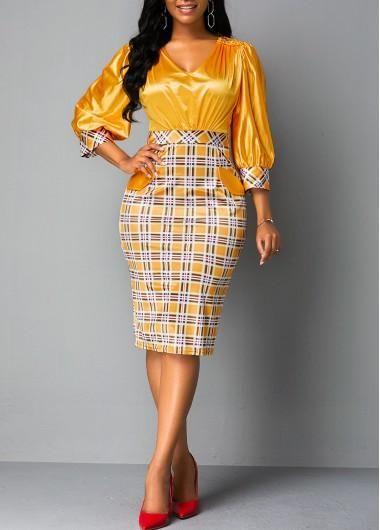 #AdoreWe #Rotita - #unsigned Plaid Print Back Zipper Lantern Sleeve Sheath Dress - AdoreWe.com
