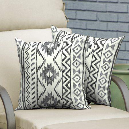Mainstays Black And White Tribal 16 Outdoor Throw Pillow Set Of 2 Walmart Com Outdoor Throw Pillows Throw Pillows Pillows
