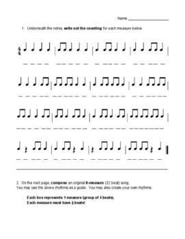 Rhythm Counting Composition Worksheet Music Theory Worksheets Counting Worksheets Music Curriculum