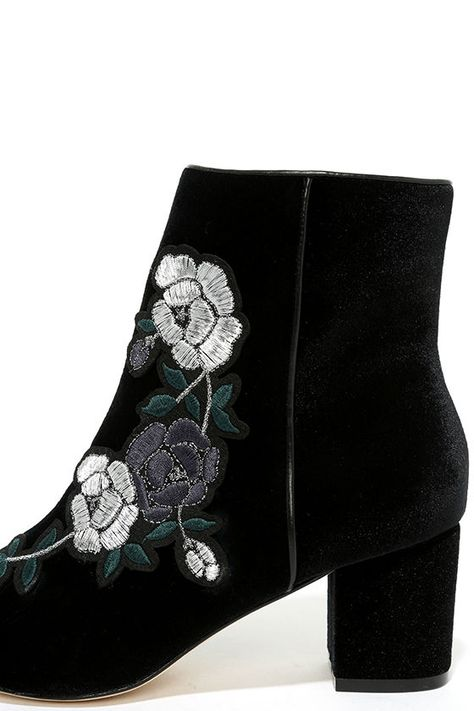 65fb2378ca3 Steven by Steve Madden Brits - Black Velvet Booties - Embroidered Ankle  Booties