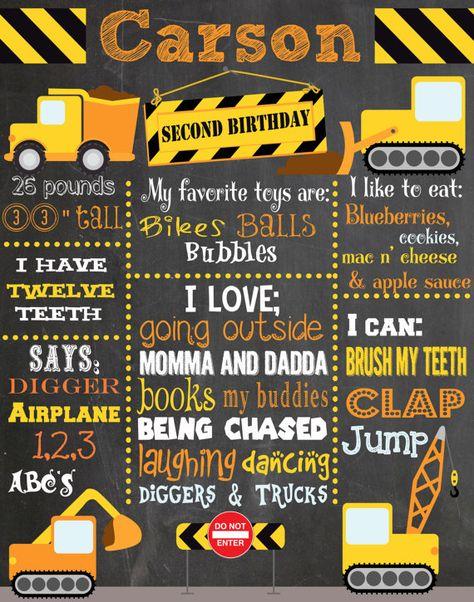 Custom Construction Birthday Chalkboard - Second Birthday - Trucks - Under Construction - Diggers - Plows - Dirt - Yellow - Orange
