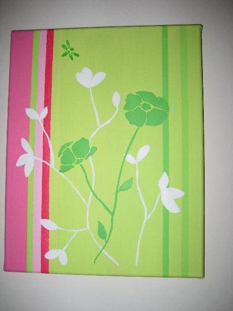 Tutoriel Tableau FLEURS - Rose et vert anis (Tableaux home ...