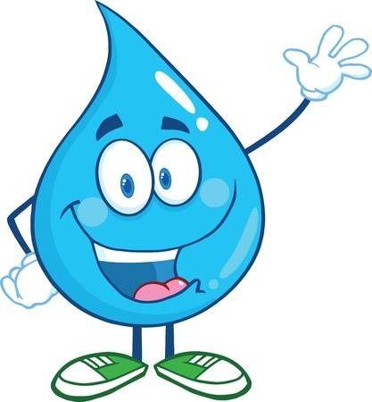 Water Drop Cartoon Mascot Character Waving For Greeting Water Droplets Cartoon Drawings Water Droplets Drawing