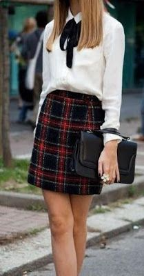 Outfits and Looks, Ideas & Inspiration A tartan skirt with a white blouse shirt and neck tie. This back to school outfit will make you look irresistible