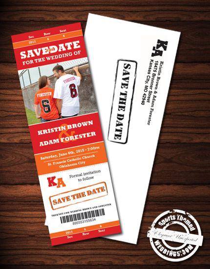 Custom Designed Wedding Ticket Save the Date Magnets for under $2.00!  #footballwedding  #stwdotcom