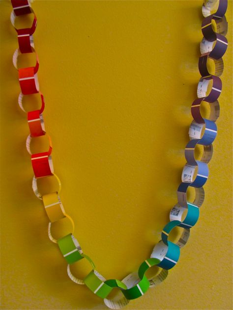 Another project with paint chips: a Paint Chip Rainbow Chain! (Be sure to check out our Paint Chip Collages .) Very simple and easy to ...