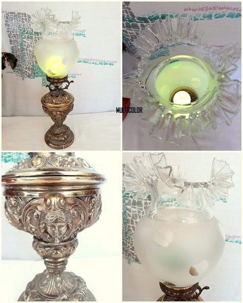 1940 Antique Pewter Lamp Hand Crafted Glass Cup Table Lamp Decorated with Cherubs Bedroom Decor Home Decor Antique Chandeliers