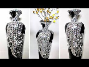 Diy Bling Vase Cardboard Paper Mache Paint Mirror Tile And