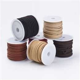6 Rolls Lace Faux Leather Suede Beading Cords Velvet String Thread Mixed Color
