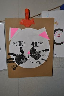 Cat craft with handprint whiskers