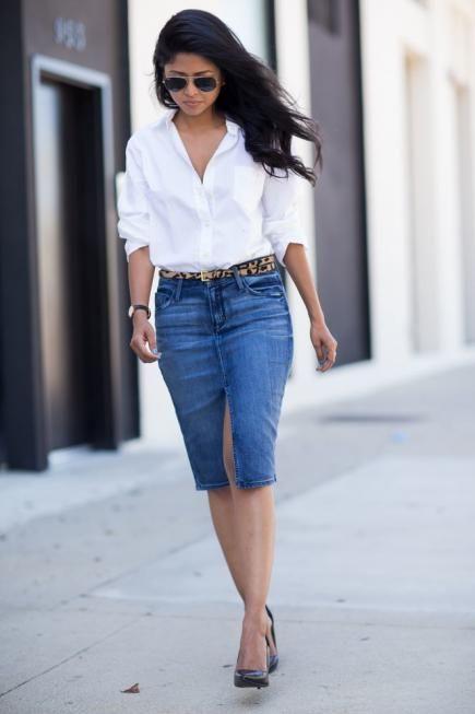 These 16 ways to wear a denim skirt are just what you need to jump on the denim-skirt bandwagon this season!