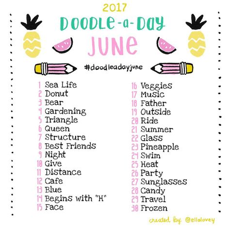 The Doodle a Day June list is here!! Get out your art supplies and get creative! If you're new to the challenge, welcome! Feel free to jump in whenever you like! Use this list as your daily drawing inspiration. Be sure to tag your doodles with #doodleadayjune so we can all see each other's work. Tag a creative friend! This is a fun exercise to work the right side of the brain. Have fun and don't worry about being perfect! You get mega points just for trying  Happy doodling friends! ✏️