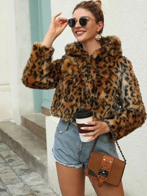 Leopard Print Hooded Faux Fur Coat - Leopard Print Hooded Faux Fur Coat Source by cylelani -