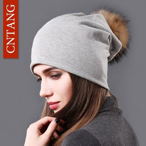 CNTANG Female Natural Raccoon Fur Pompom Hats Beanies Autumn Winter Warm  Solid Caps For Women Fashion Cotton Skullies Thin Hat e388ba1f6c07