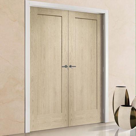 Prefinished Pattern 10 Style 1 Panel Oak Fire Door Pair Choose