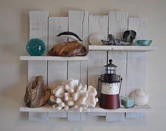 Reclaimed Woodeaster Pallet Reclaimed Pallet Wood Shelf Etsy In 2020 Pallet Wood Shelves Rustic Coastal Decor Wood Shelves