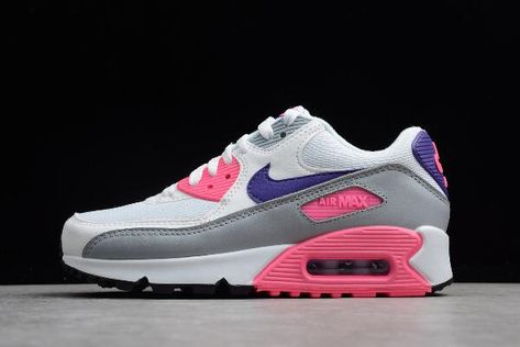 Classic Nike White Pink Women's Air Max 90 Essential Mesh Running Shoes 616730 112