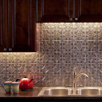 Fasade Traditional 1 18 5 In X 24 5 In Cross Hatch Silver Backsplash Panels Lowes Com Backsplash Panels Decorative Backsplash Backsplash