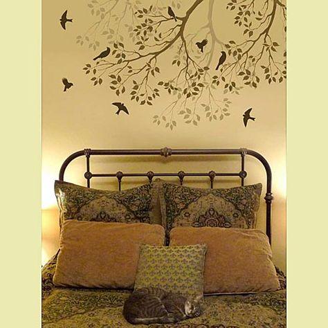 Spring songbirds wall stencil