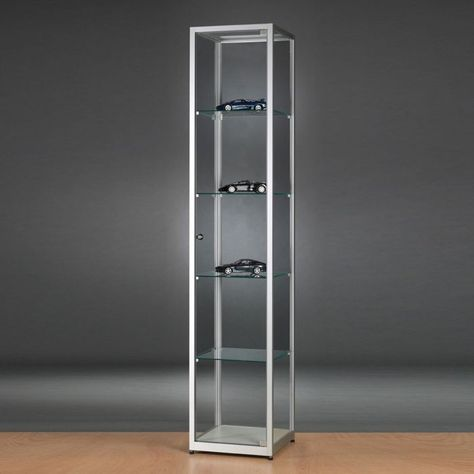 A Slim Profile Glass Display Cabinet Available In A Black Or