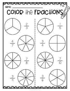 Fractions Color The Fraction With Images Fractions Math