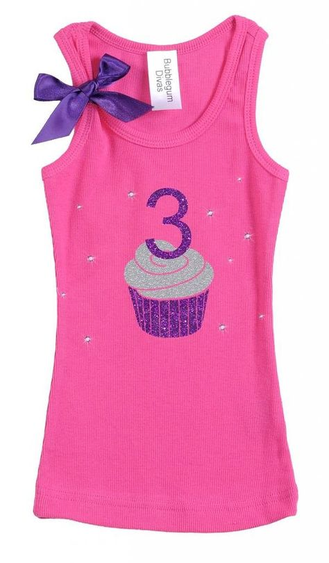 Bubblegum Divas Little Girls 3rd Birthday Pink Purple Cupcake Shirt