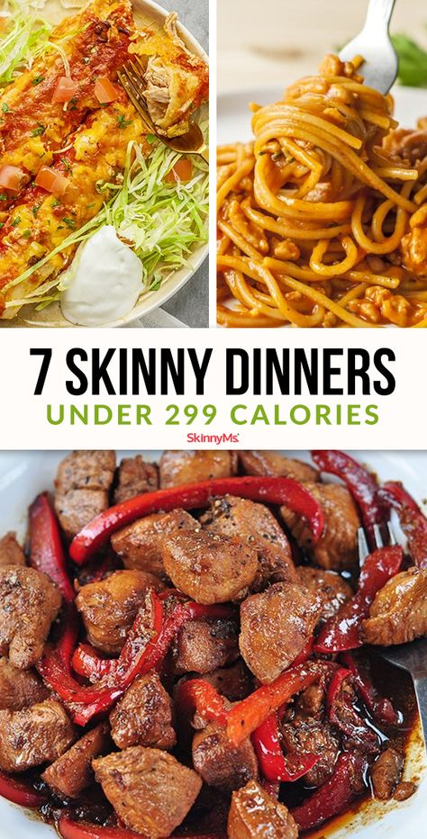 These low-calorie dinners may offer fewer than 300 calories per serving, but don't let the low calorie count fool you into thinking these meals taste like cardboard! calorie dinner 7 Skinny Dinners Under 299 Calories calorie food Healthy Low Calorie Dinner, No Calorie Foods, Healthy Meal Prep, Healthy Dinner Recipes, Diet Recipes, Low Calorie Easy Meals, 300 Calorie Dinner, Low Calorie Recipes Crockpot, Low Calorie Meal Plans