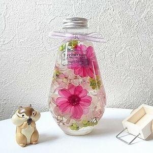ハーバリウム ジニア ピンク ハンドメイドマーケット Minne ボトルフラワー フラワークラフト ハンドメイド