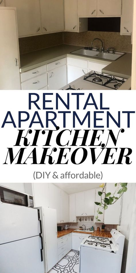 My Apartment Makeover Reveal! – Emilie Eats : Check out my renter-friendly, affordable apartment kitchen makeover—from basic and beige to a bright, boho, modern space full of plants and DIYs! Rental Kitchen Makeover, Apartment Makeover, Apartment Renovation, Rental Makeover, Apartment Decorating On A Budget, Rental Decorating, Rental Home Decor, Apartments Decorating, Decorating Kitchen