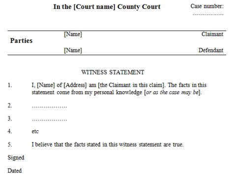 Witness Statement Template we the people who are not bar members - witness statement template