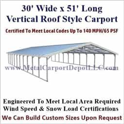 30 X 51 Triple Wide A Frame Carport Vertical Roof Sale Price