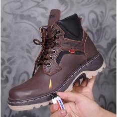 Zimzam Amu Kalong Sepatu Boots Pria Kulit Asli Brown Sepatu
