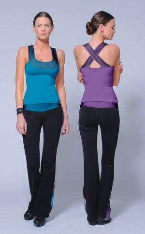 Coral racerback w/ plum crossover top, black flared-leg leggings w/ matching waistband & ankle accents