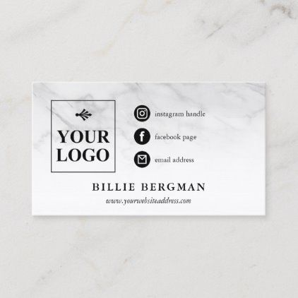 Faint Marble Social Media Icons Your Logo Business Card Zazzle Com Business Card Logo Social Media Icons Media Icon