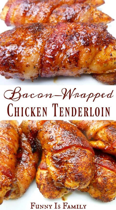 This Bacon-Wrapped Chicken Tenders recipe is as moist and delicious as it looks! In the oven or on the grill, this easy chicken recipe is perfect for dinner or a party appetizer! via dinner Bacon-Wrapped Chicken Tenders - Funny Is Family Chicken Wraps, Grilled Chicken Recipes, Easy Chicken Recipes, Easy Chicken Tenderloin Recipes, Fried Chicken, Chicken Appetizers, Stuffed Chicken, Frango Bacon, Grilling Recipes