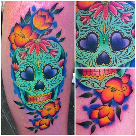 Sugar skull done at @love_hatelondon, the client requested it to be very colorful. She also took a 9 hour bus all the way from Scotland to get tattooed! I'm honored to have clients willing to travel all that way!! Thank you Steff  #sugarskull