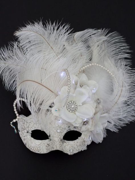 Black Centre Feather Mask Venetian New Years Eve Masquerade Ball Face Party Mask