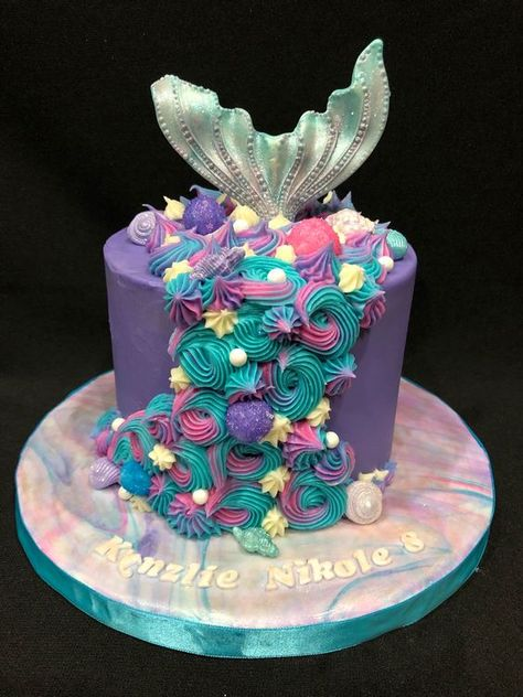 Mermaid tail cake teal and pink and purple simple yet elegant