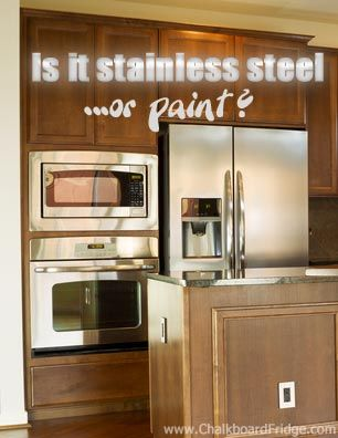 Is It Stainless Steel... Or Is It Paint? How To Paint A Refrigerator  Stainless Steel [video] | Chalkboard Fridge | Pinterest | Refrigerator,  Stainless Steel ...