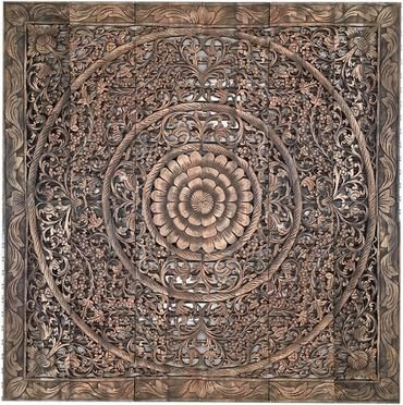 lotus carved headboard on Carved Wall Panel 72x72 Inches Bohemian Wood Wall Wooden Lotus Wall Decor Mandala Headboard King Carved Wood Wall Art Wood Carved Headboard Carved Wall Art