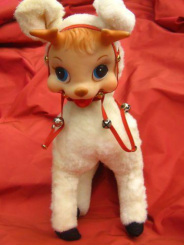 "Vintage Plush Rushton Rubber Face Christmas Reindeer Doll 14"" Tall 110% ADORABLE | eBay sold for 187.00 !"