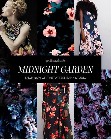 Midnight Garden AW1718 Print Trend in our Online Textile Design Studio – A hugely popular part of our site is the seasonal trend themes section – all our designers receive a monthly directional trend newsletter, they design into themes and then we collate them into seasonal trend stories. This saves our buyers valuable time when looking for those new prints. 'Midnight Garden' is one of our current favourites, go check it out here ptbk.co/24aRWKX
