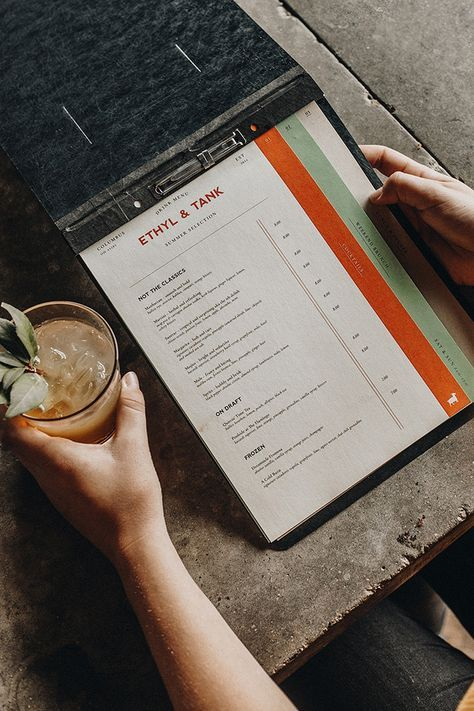Ethyl & Tank by A&R Creative Group   menu ideas   Cafe menu ...