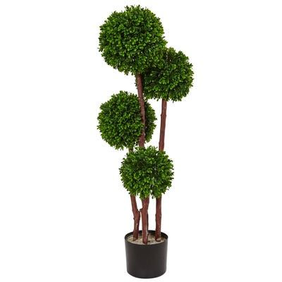 Nearly Natural 3 5 In Uv Resistant Indoor Outdoor Boxwood Double Ball Artificial Topiary Tree 5494 Artificial Topiary Topiary Trees Topiary