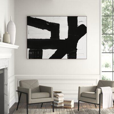 Lillian August Untitled Black And White 1 Floater Frame Graphic Art Print On Canvas Art Painting Oil Canvas Prints Graphic Art Print
